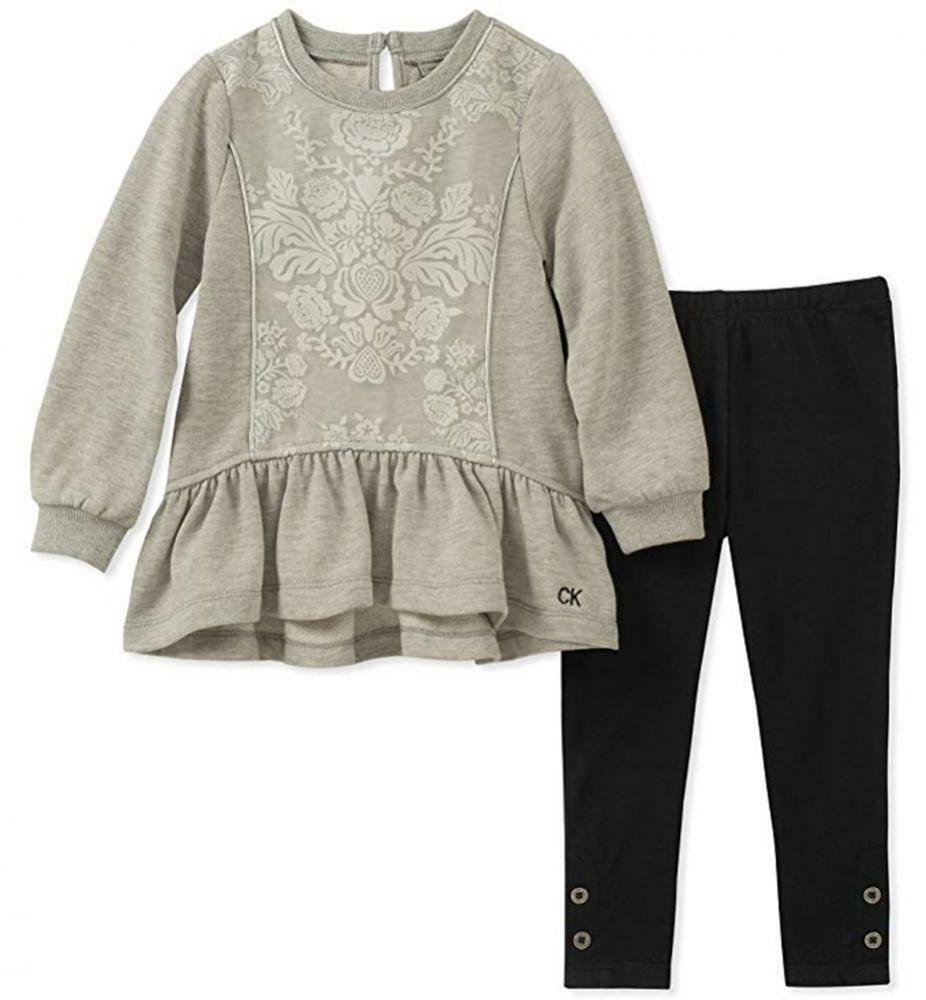 39bcc14f5b06a Details about Calvin Klein Girls Gray Tunic 2pc Legging Set Size 2T 3T 4T 4  5 6 6X