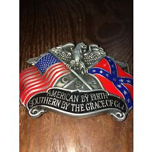 Rebel Belt Buckle American By Birth Southern By The Grace Of God Confederate Buc