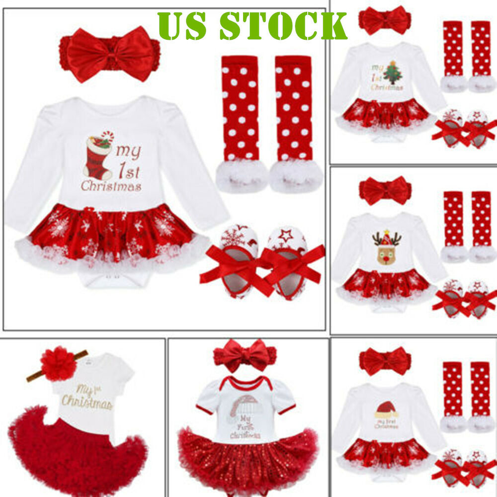 74588f5ada7b Infant Christmas Outfit for Girl Baby First Xmas Party Romper Tutu ...