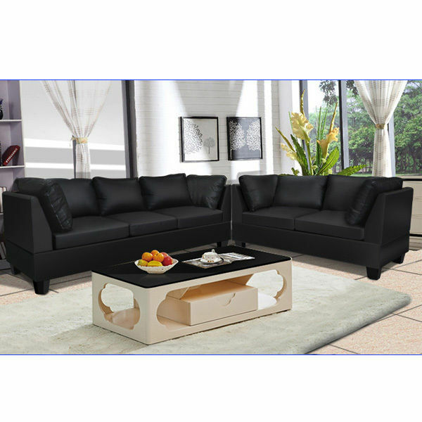 PU Leather Sofa Setting Couch Lounge Corner Suite Furniture Chaise ...