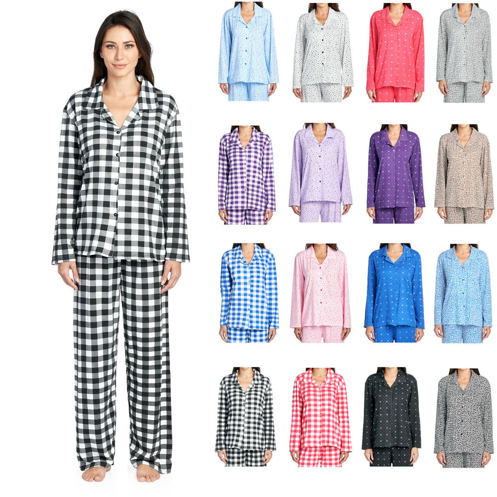 f8cdc0cd53be Details about Casual Nights Women s Long Sleeve Rayon Button Down Pajama Set