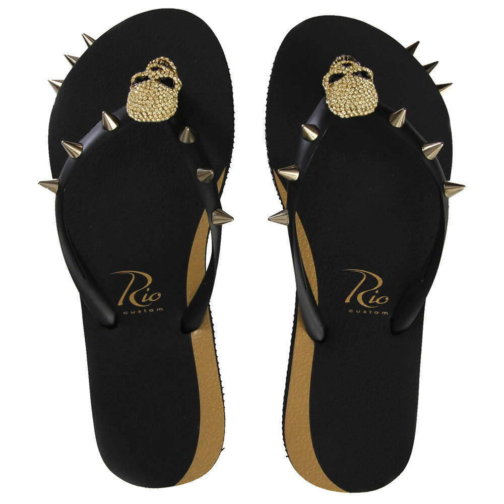 c7a896d464cae New Flip Flops for Women Black Skull Thong Flats Sandals Beach Casual Rio  Custom