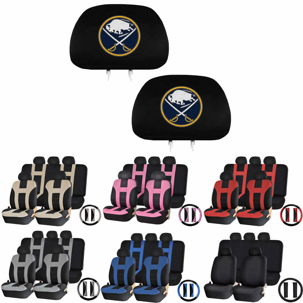 online store c3f70 0836f Details about 14 PIECE Universal-fit Car Seat Covers Steering Set for NHL  Buffalo Sabres Fans