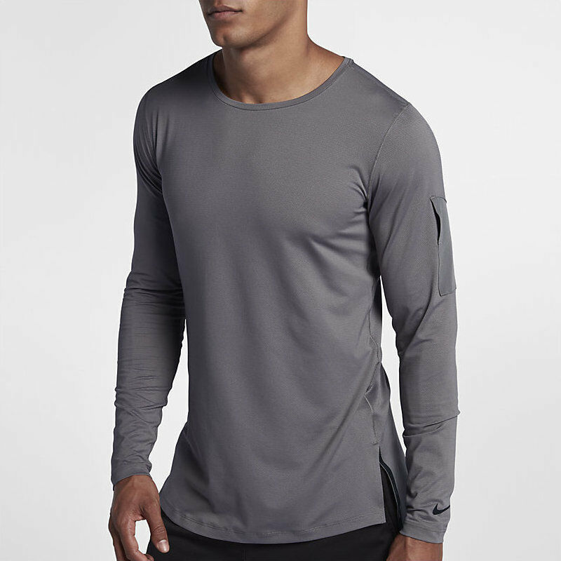 newest 0bae7 5530d Details about Men Nike Traning Utility Long Sleeve Running Shirt Size S  Grey Gray AA1587 036