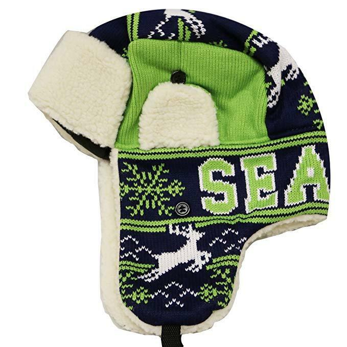 20dab9dbc4575 Details about SEATTLE Winter Trapper Hat Snow Deer Aviator Knit Fleece  Beanie Adult OSFA New