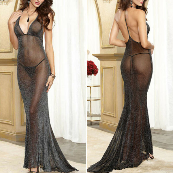 Donna Lingerie Canotta Schiena Scoperta Babydoll Notte lungo Maxi Tulle T-Back
