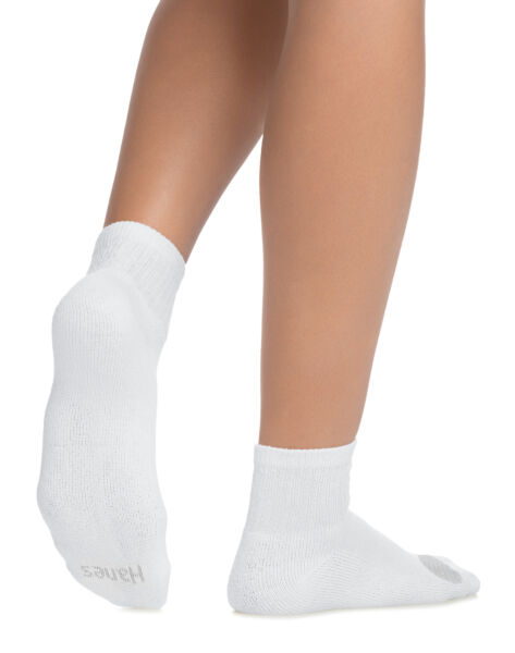 Hanes Ankle Socks 6-Pack Women's Cool Comfort Cushioned White Grey Shoe sz 8-12