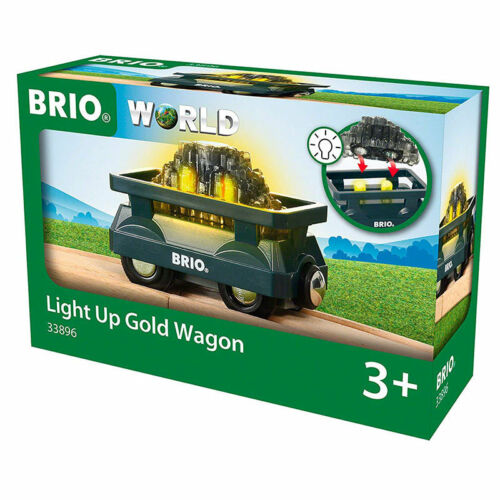 BRIO World 33896 Light Up Gold Wagon for Wooden Train Set