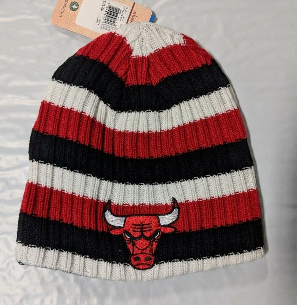 24ea2f00983 Details about Chicago Bulls Knit Beanie Toque Skull Cap Winter Hat NEW NBA  Colors Logo Striped
