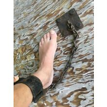 Antique Slave Shackle Hand Cuff Wrist~Ankle w/Chain & Hinge~Wall Mount~Replica