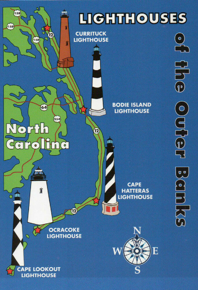 Outer Banks Lighthouses State Map Cape Hatteras North Carolina 5