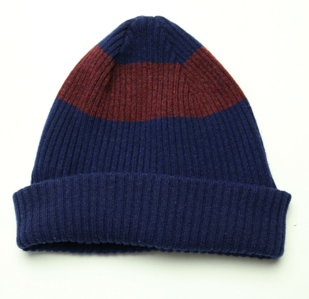 20b7f67f064 Details about New Paul Smith PS Navy Red Two Tone Stripe Lambs Wool Ribbed  Beanie Hat O   S