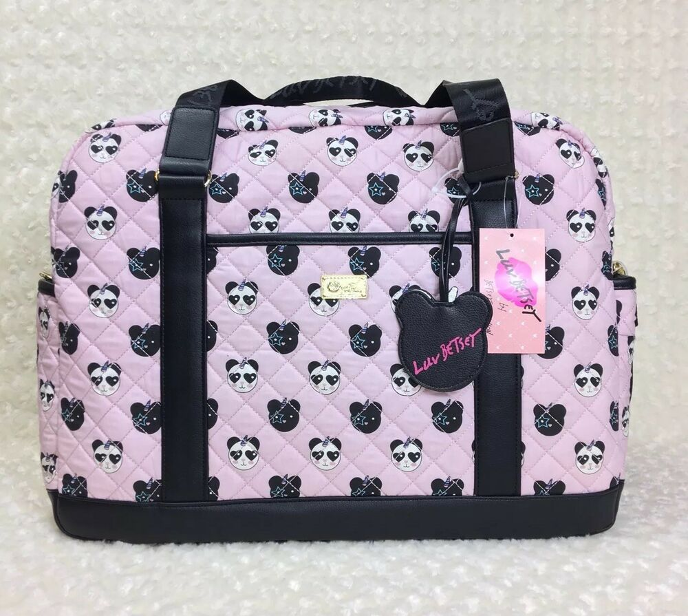 946063af86 Details about Betsey Johnson Blush WYLIE Panda Unicorn Weekender Duffle Bag  Quilted XLarge