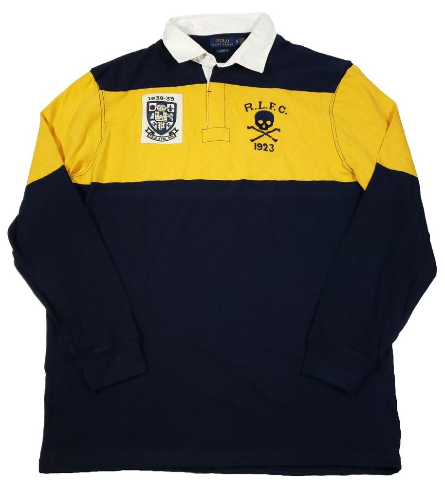 Polo Ralph Lauren Men s Navy Yellow Jersey Rugby Patch Classic Fit Polo  Shirt  32f570c88b7bb