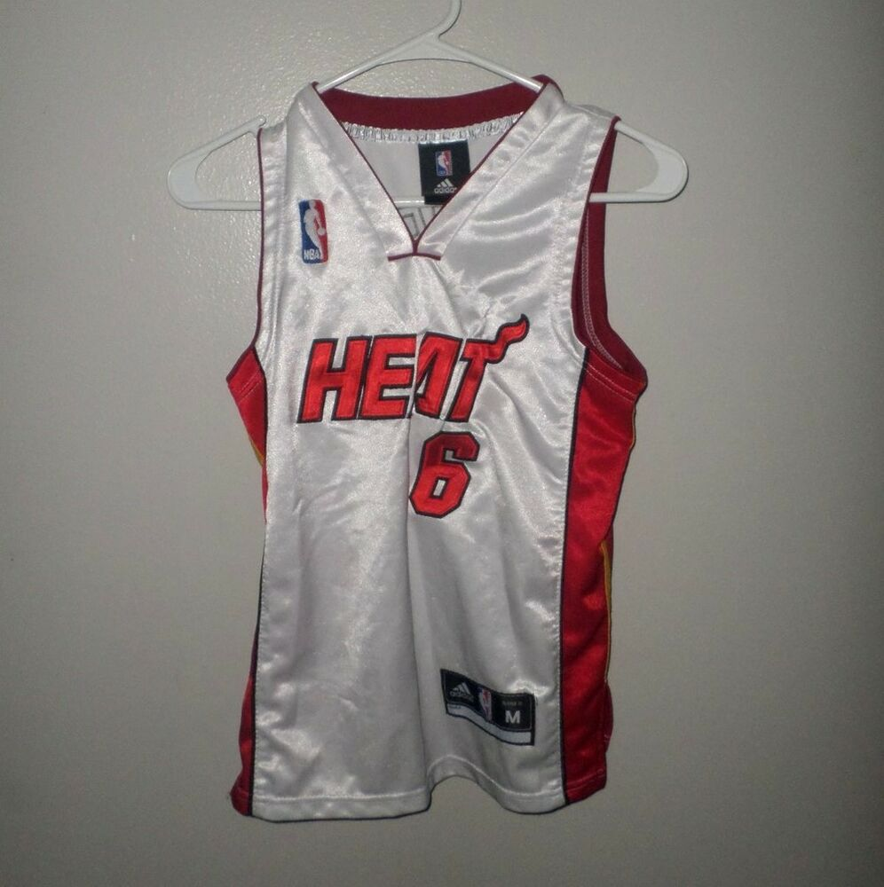 7fd6d534e Details about MIAMI HEAT Lebron James youth med jersey Adidas basketball  kids NBA sewn letters