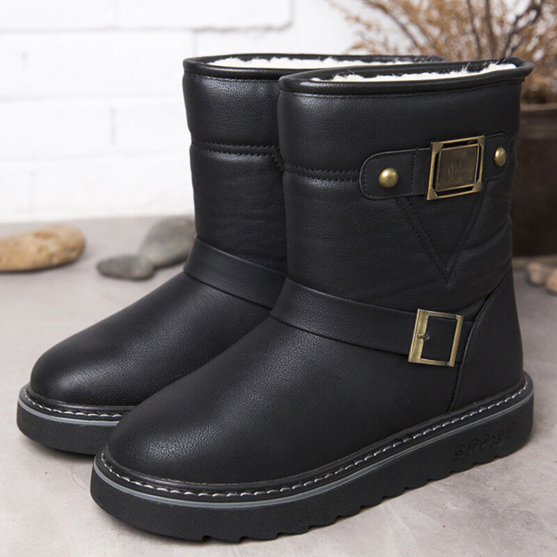 Mens Winter Warm Leather Snow Boot