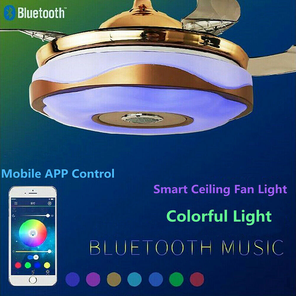 Chandelier Fan: 42'' Modern Bluetooth Ceiling Fan Light Remote Music