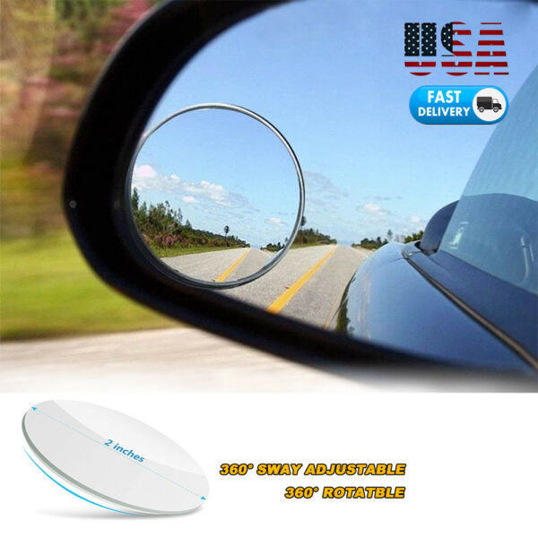 2PCS Round Blind Spot Mirror HD Glass Frameless Convex Rear View Mirror 360° US