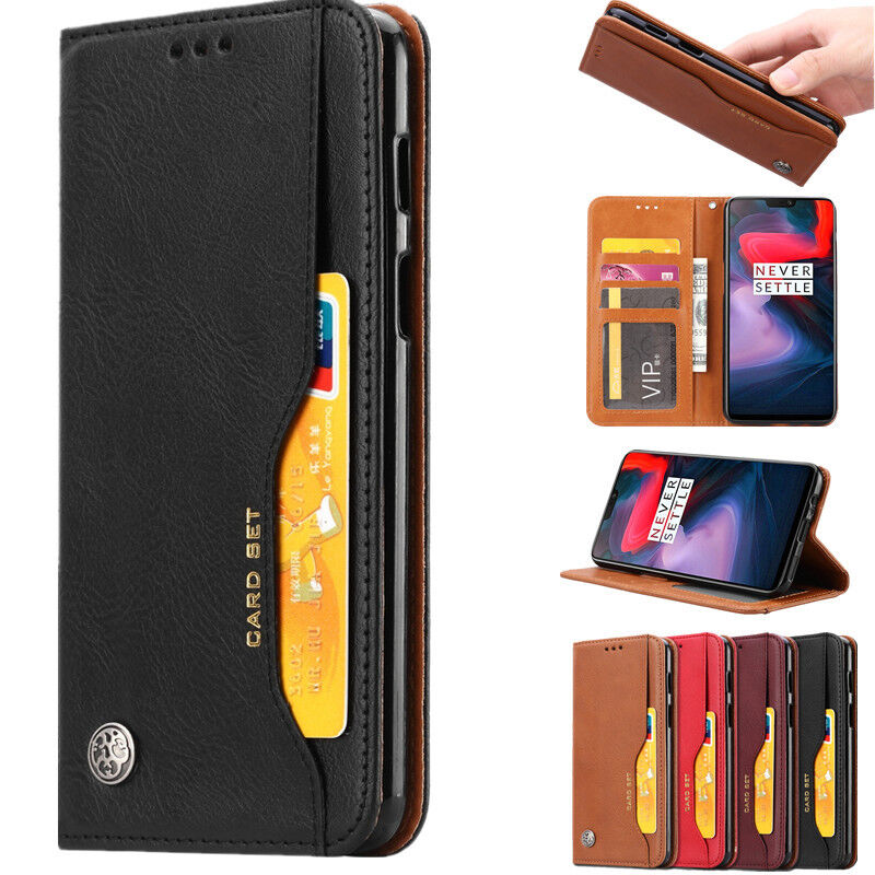 competitive price 9828c 019b0 For OnePlus 6T 6 Luxury Card Slot Stand Magnetic Flip Leather Wallet Case  Cover   eBay