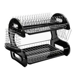 Kyпить 2-Tier Dish Drying Rack Stainless Steel Drainer Kitchen Storage Space Saver NEW на еВаy.соm