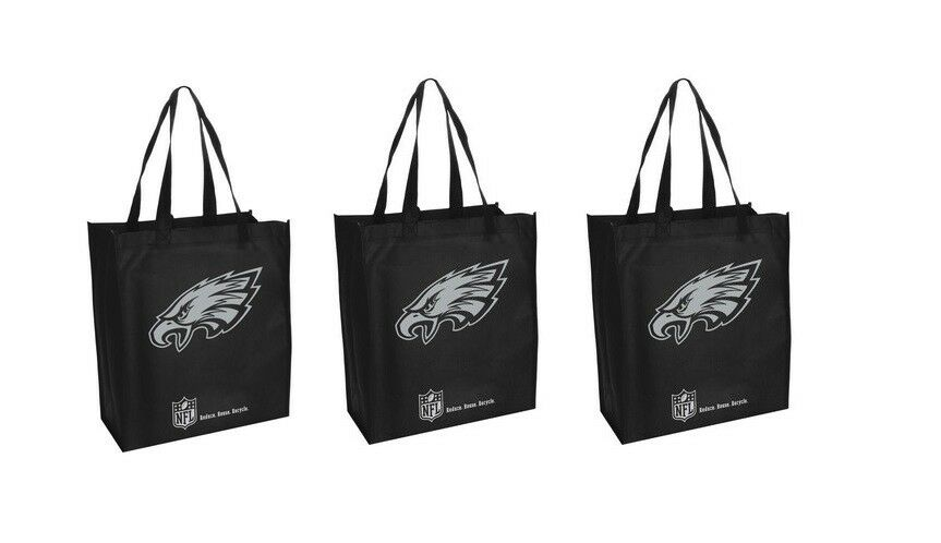 best service 70edd d068a 3 Philadelphia Eagles Reusable Shopping Grocery Tote Gift ...