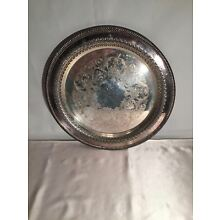 WM ROGERS ROUND SERVING TRAY SILVERPLATE 12