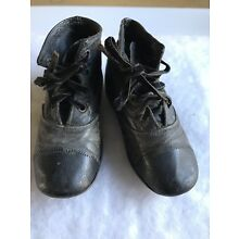 ANTIQUE VICTORIAN CHILDS DOLL TWO TONE BROWN/BLACK TIE SHOES BOOTS