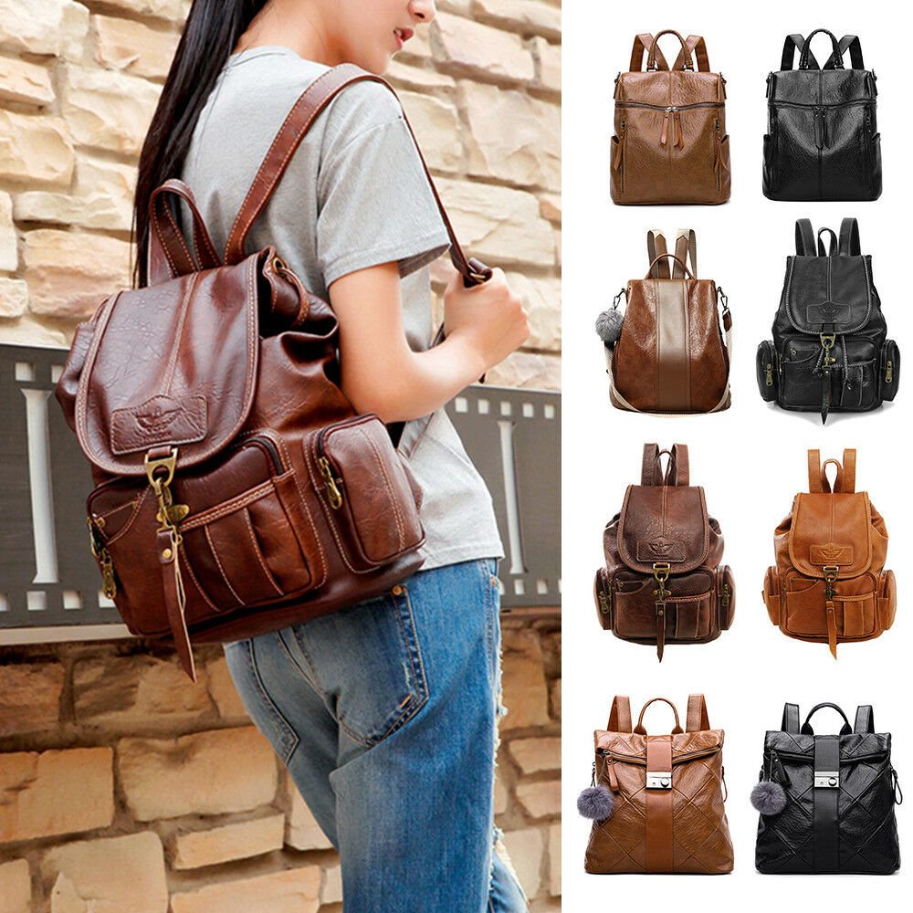bfd2206e4648 Details about Women s Pu Leather Backpack Purse Ladies Casual Shoulder Bag  School Bag for Girl