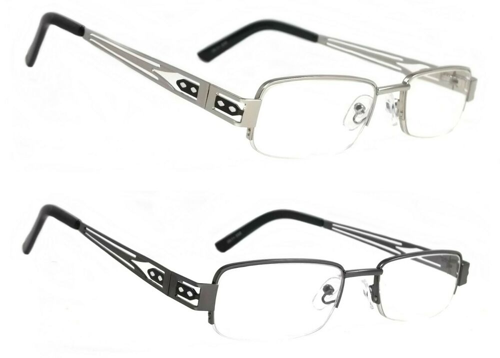 c7cdb1c39fd Details about NWT Classic Half Frame Reading Glasses Nicks Vintage  Rectangular Metal Readers