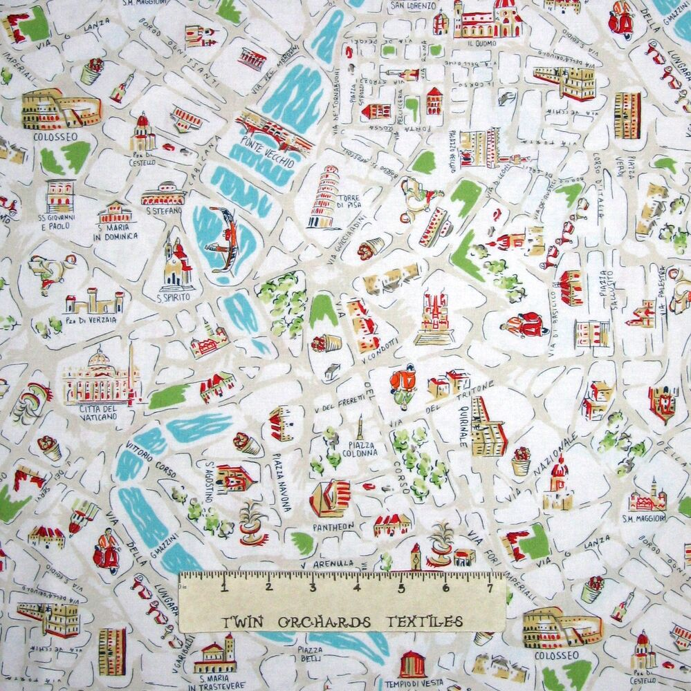 Travel Fabric - Italy Rome City Map Landmarks Beige - Dear Stella ...