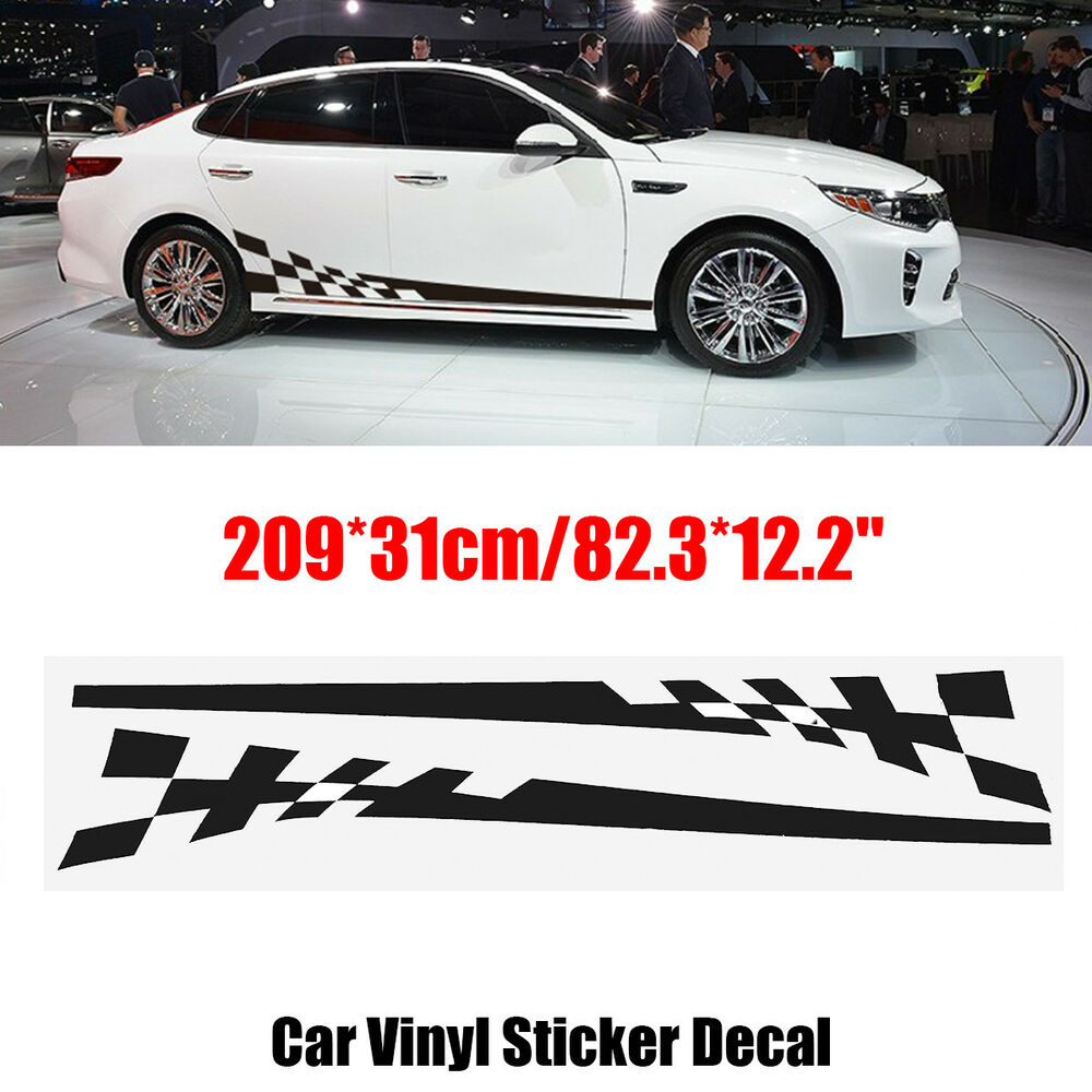 Details about 2pcs 209cm silver black car body stripes racing glue sticker vinyl decal for jdm