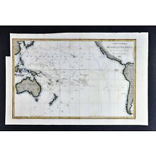 1834 D'Urville Map - Pacific Ocean - Australia New Zealand Hawaii Tahiti Oceania