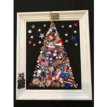 Vtg Costume Jewelry Pins Patriotic  Military Christmas Tree 12