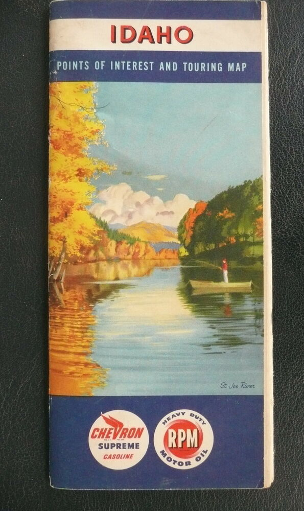 1953 Idaho Road Map Chevron Oil Gas St Joe River Cover Booklet Ebay