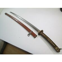WWII JAPANESE OFFICERS SAMURAI SWORD WIT SCABBARD SIGNED MURATA BLOOD GROOVE #E1