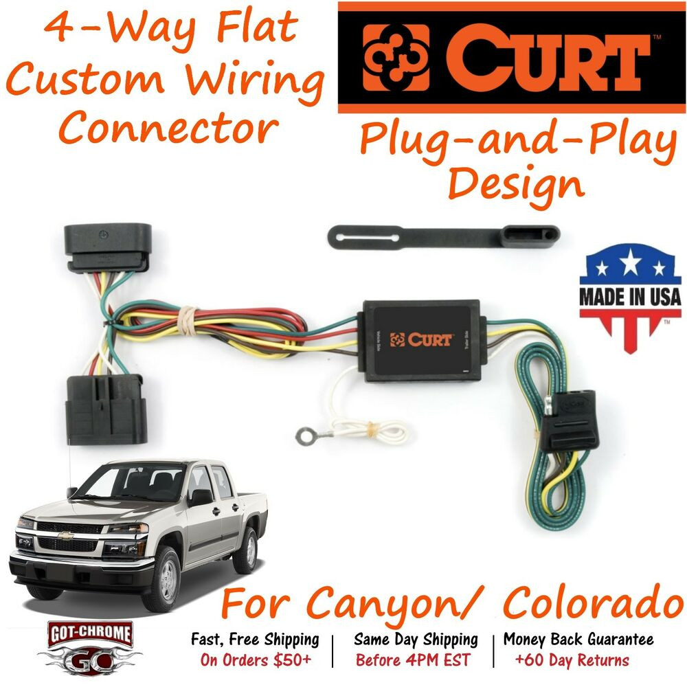 55510 Curt 4 Way Flat Trailer Wiring Connector Harness Fits Canyon