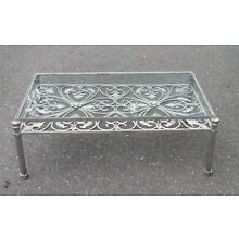 Vintage Mid Century Modern Hand Wrought Iron Table Birds & Flowers W Glass Top