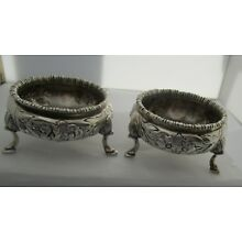Pair of Footed Repousse Coin Silver Open Salts circa 1840's-50's