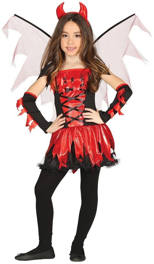 ff2ca20c51ab Girls 5 Piece Fire Devil Halloween Fancy Dress Costume Outfit Age 3 ...