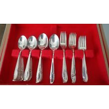 WM ROGERS MFG CO ALLURE-TEATIME SILVERPLATE 78 PIECES WITH CHEST SERVE FOR 11