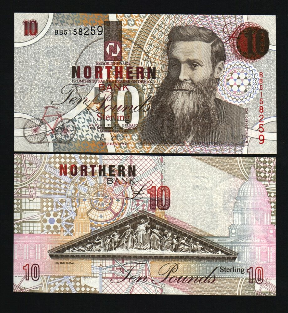 Details About Northern Ireland 10 Pounds P198 1997 Bicycle Dunlop Unc Gb Uk Currency Bank Note