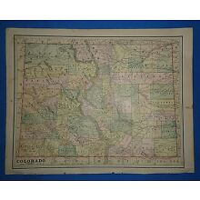 Vintage 1891 COLORADO MAP ~ Old Antique Original Atlas Map 120718