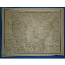 Vintage 1891 ARKANSAS MAP ~ Old Antique Original Atlas Map 120718