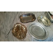 Silver Plate serving tray lot Gorham Sheffield Wilton 4  trays 3 10 inch one 16