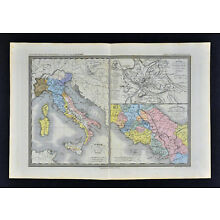 1860 Ansart Map - Etruscan & Early Roman Empire - Rome Plan Augustus - Italy