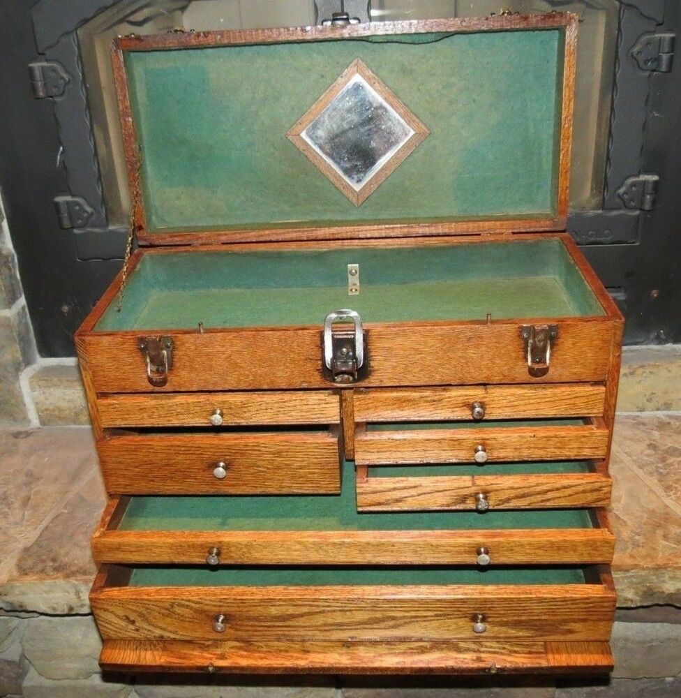 Vintage Oak Wood Machinist Chest Tool Box With Mirror