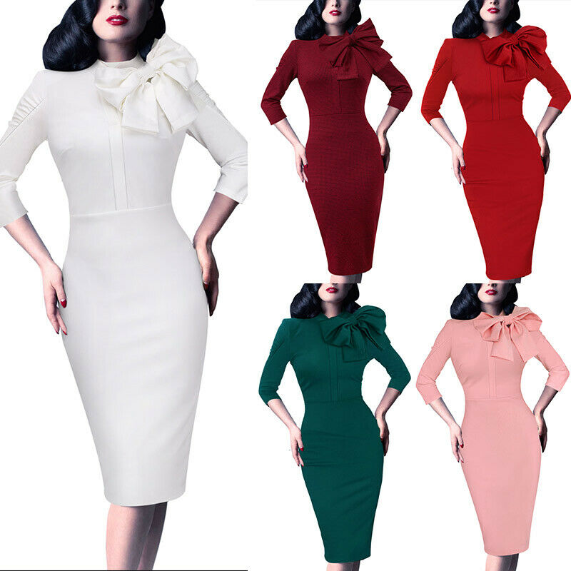 Details about Womens Celebrity Vintage Pinup Bow Evening Cocktail Party  Bodycon Sheath Dress