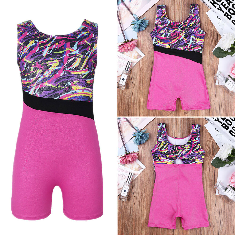 25b267d9e Girls Kids Gymnastics Leotards Ballet Sport Tank Top Shorts Jumpsuit ...