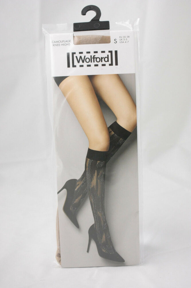e0ee4ce29 Details about Wolford ~ CAMOUFLAGE ~ knee high socks BNWT nude   silver ~  Small ~ 20 denier
