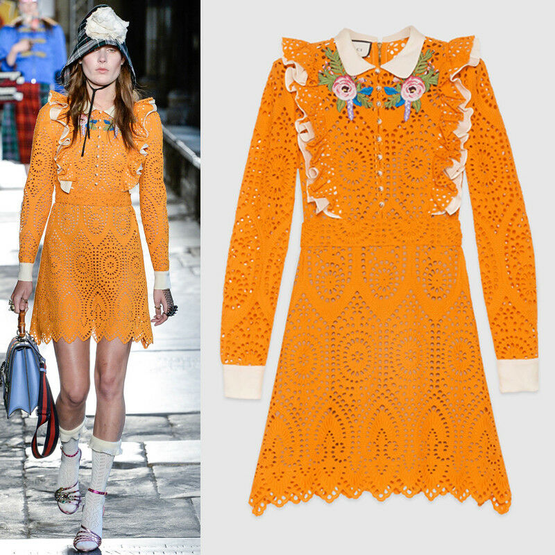 ffaab647c9c0 Details about sz 38 NEW $4500 GUCCI RUNWAY Orange EYELET RUFFLE FLOWER  Broderie Anglaise DRESS